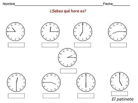generador de ejercicios para aprender la hora y leer el reloj educaci 243 n infantil aprender las horas