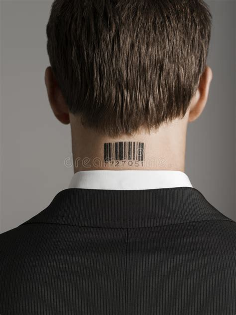 barcode tattoo audio rear view of businessman with bar code tattoo on neck