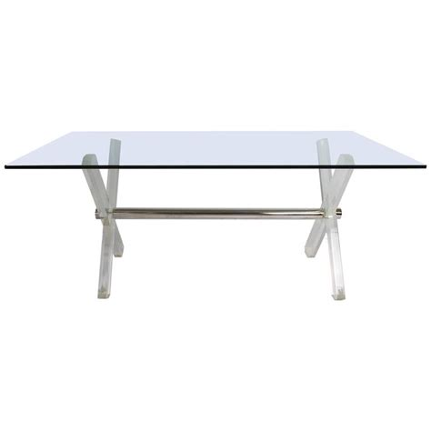 steel and lucite x frame dining table for sale at 1stdibs
