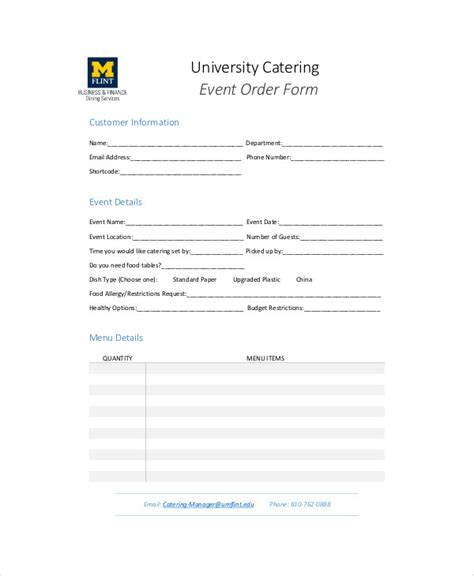 catering order form template sle catering order form 11 exles in word pdf