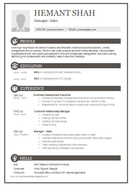 excellent resume formats free 10000 cv and resume sles with free one page excellent resume sle for mba