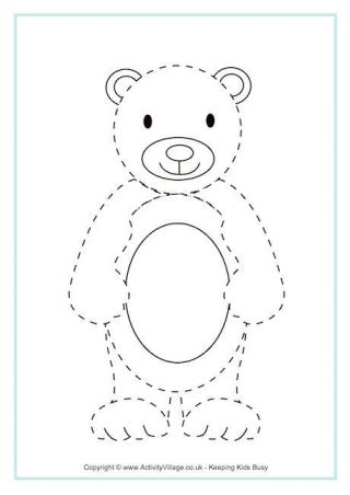 bear pattern worksheet animal tracing pages