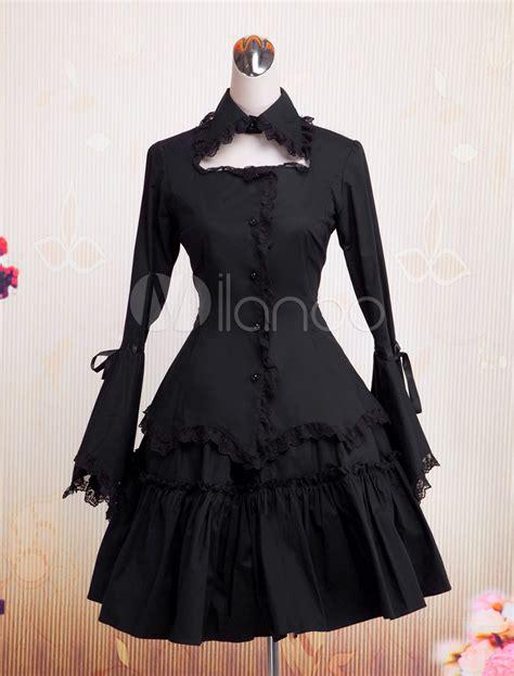 V Jumpsuit Lolis dress op black hime sleeves ruffles