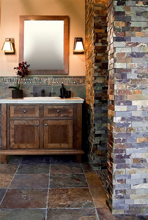 rustic tile bathroom would love in the master bath and have a walk in shower