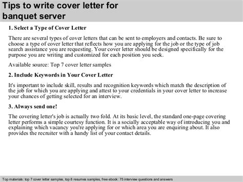 cover letter for banquet server banquet server cover letter