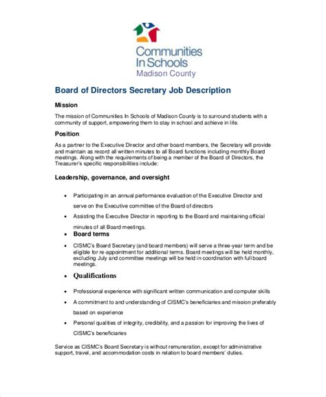 Secretary Job Description Exle 10 Free Word Pdf Documents Download Free Premium Templates Board Roles And Responsibilities Template