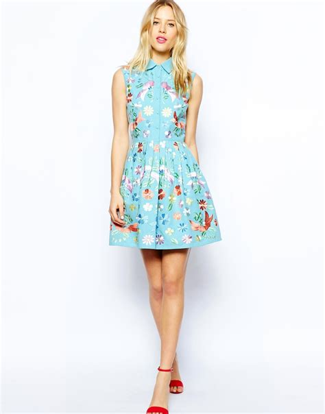 Premium Dress Embroidery Aic asos premium shirt skater dress with pastel embroidery at
