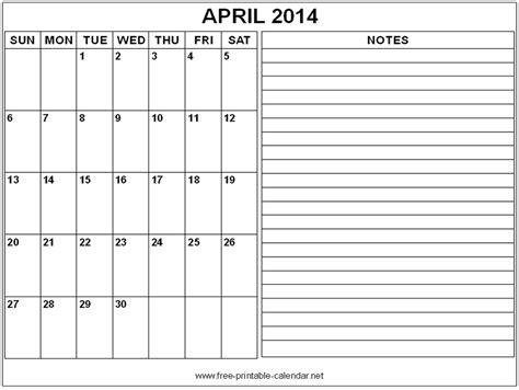 printable calendar 2014 with notes blank calendar april 2014 with notes calendars 2018
