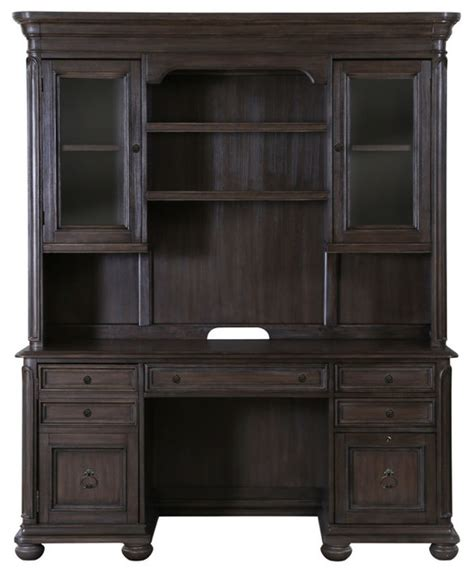 Distressed Desk With Hutch Broughton Traditional Distressed Nutmeg Wood Credenza Hutch Traditional Desks And