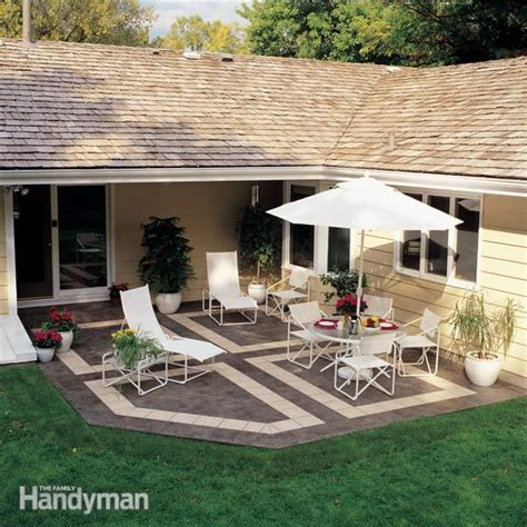 how to build a backyard patio how to build a patio with ceramic tile the family handyman