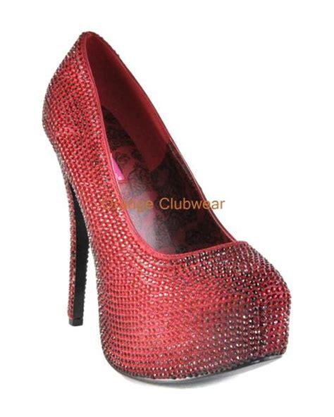 ruby high heels bordello teeze 06 ruby satin rhinestone platform high