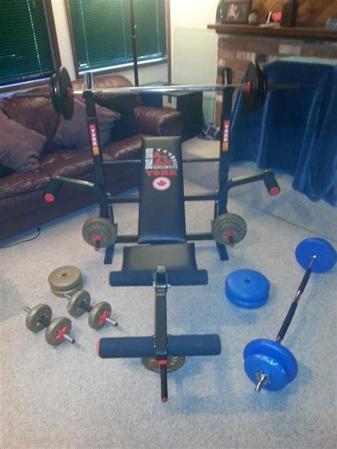 complete weight set with bench york bench press curl bar dumbell complete weight