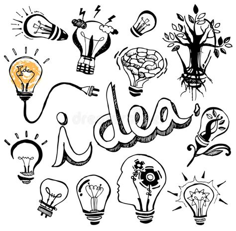 doodle 4 my invention vector light bulb doodle stock vector image
