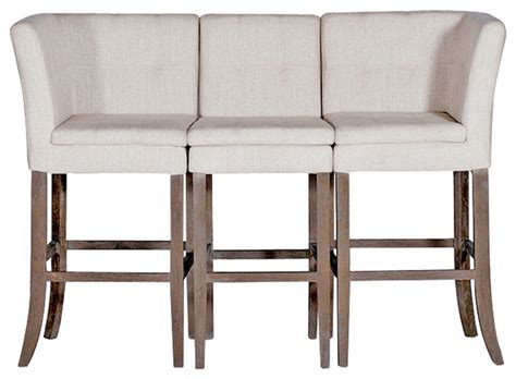 high bench seating cooper conrad tufted linen square linen 3 seat bench bar