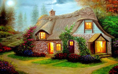 country cottage wallpaper evening cottage wallpaper awesome