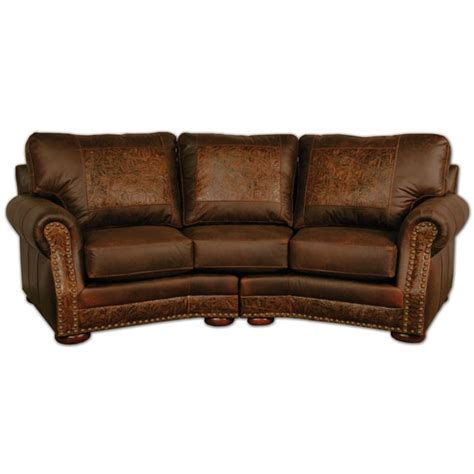 curved leather sofa western furniture cameron ranch dejavu holster curved
