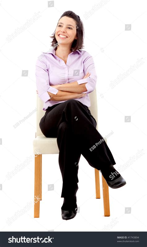 White Sitting Chair by Business Sitting On Chair Isolated Stock Photo