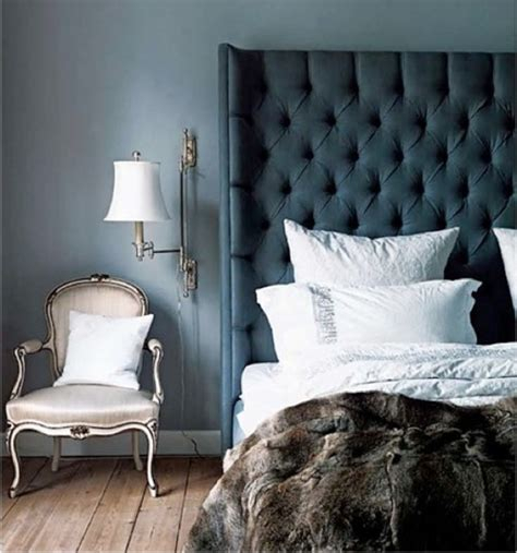 Blue Velvet Headboard Blue Velvet Tufted Headboard Design Ideas