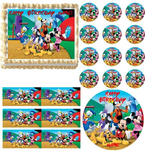 mickey mouse clubhouse super cute edible cake topper frosting image  sizes ebay