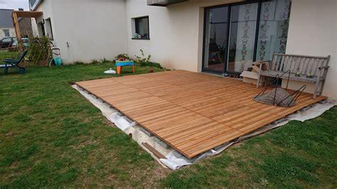 terrasse a faire une terrasse en bois sur plot beton myqto