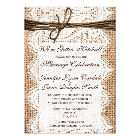get your wedding invitations printed getting hitched burlap print wedding invitations lace