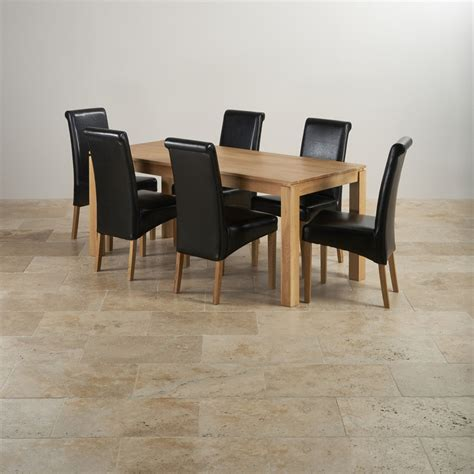 Leather Chairs For Dining Table Galway Dining Set In Oak Dining Table 6 Leather Chairs