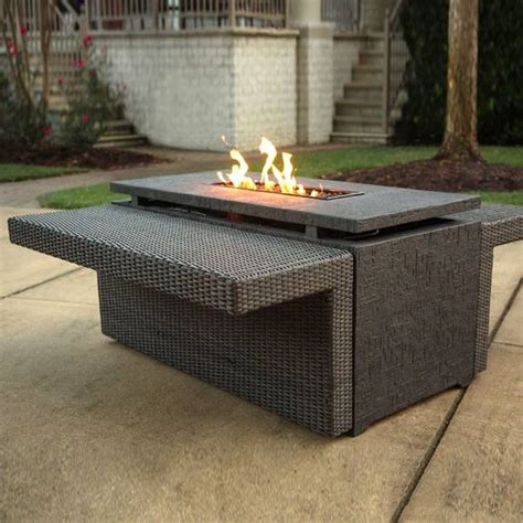 wicker pit table agio marietta gas pit with wicker side tables