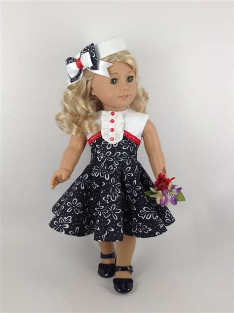 black doll 18 inch 1950 s black white dress pill box hat for 18 inch