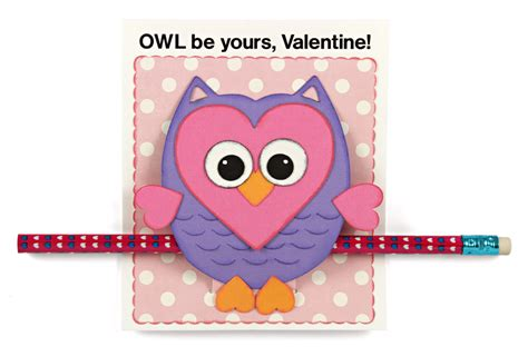 owl valentines day card template diy classroom valentines owl card pencil holder
