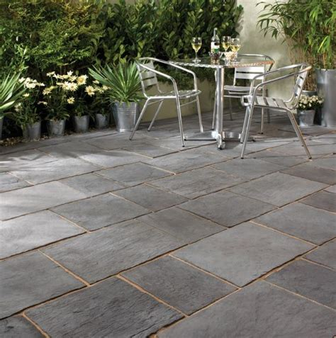 Slate Patio Designs Enthralling Slate Pavers For Patio On Running Bond Tile Pattern Also A Pair Of Stainless Steel