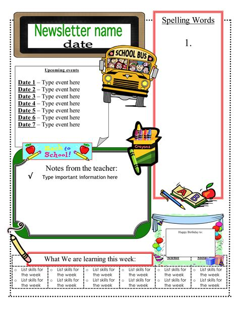 templates for the classroom classroom newsletter template lisamaurodesign