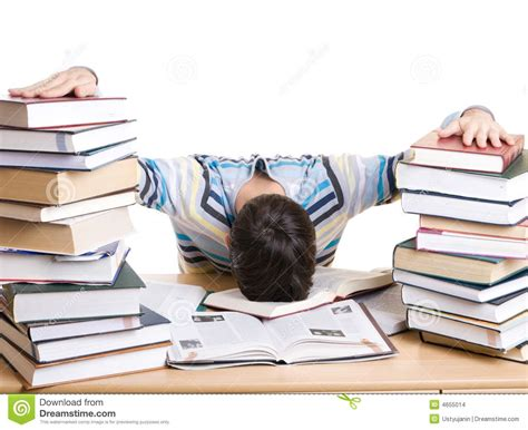 the sleeping books the sleeping student with books isolated stock images