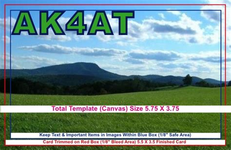 qsl card template layout  specifications