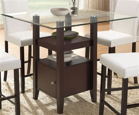 cappuccino glass counter height dining table