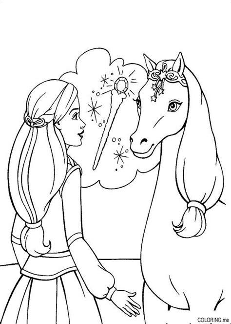 coloring page barbie magic pegasus horse coloring me
