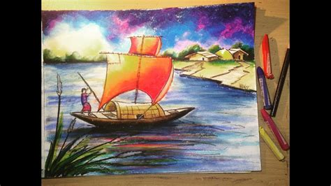 drawing of boat scenery how to draw a scenery with oil pastel autumn scenery