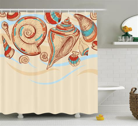 Pastel Coloured Curtains Decor Shower Curtain Shell In Pastel Colors Ebay