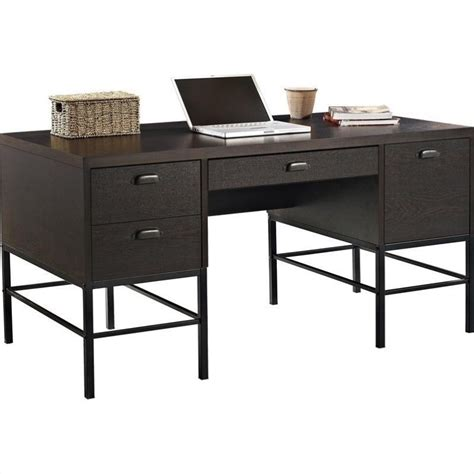Espresso Office Desk Manhattan Pedestal Home Office Desk In Espresso 9380096