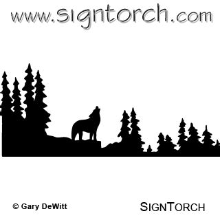 wolf howling  signtorch turning images  vector cut paths
