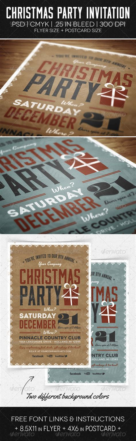 dafont gobold christmas party flyer invitation graphicriver