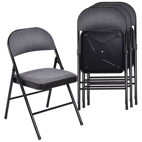 set   folding chairs fabric upholstered padded seat metal frame home office ebay