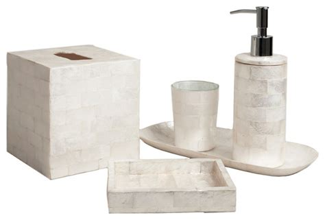 capiz shell bathroom accessories six piece ivory brick capiz bathroom set transitional