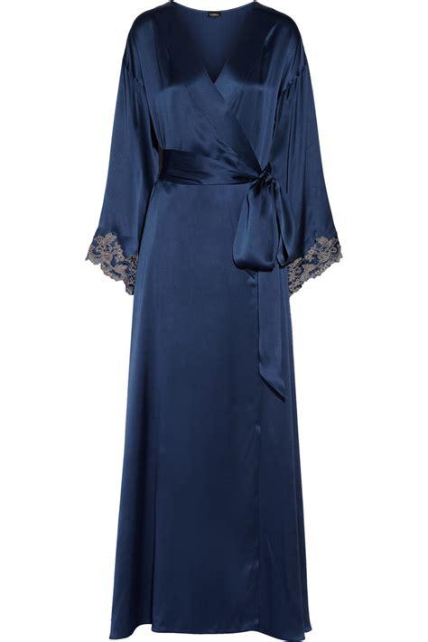 La Perla Maison Lace Trimmed Silk Satin Robe In Blue Lyst