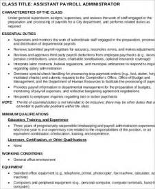 Administrative Manager Description by Payroll Assistant Description Resume Cv Cover Letter