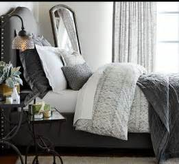 neutral gray bedding from pottery barn for the home