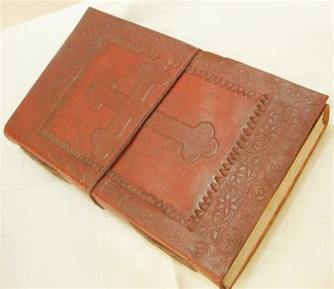 Handcrafted Journal - handcrafted celtic cross embossed leather journal diary