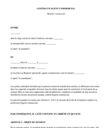 contrat d commercial mandat commercial mod 232 le