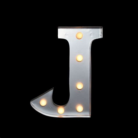 marquee light letter j led metal sign 10 inch battery