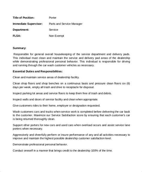 Porter Description Resume