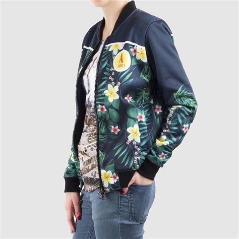 womens blue patterned jacket printed bomber jacket womens personalized bomber jacket